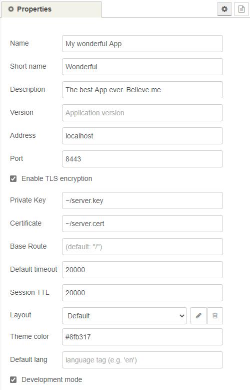 Screenshot of a sample web-app node.