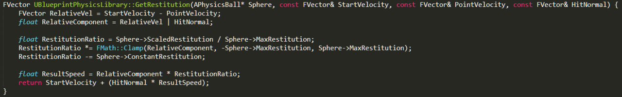 C++ physics code