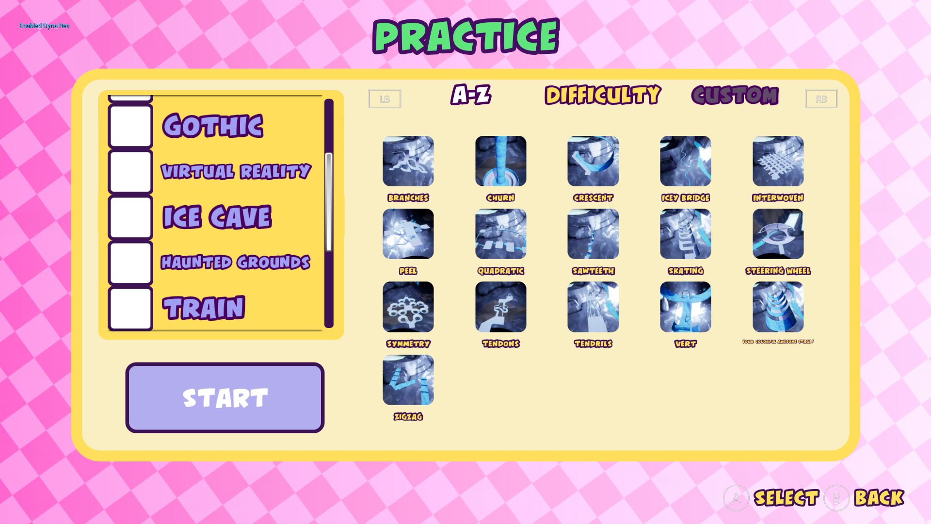 Practice mode level select