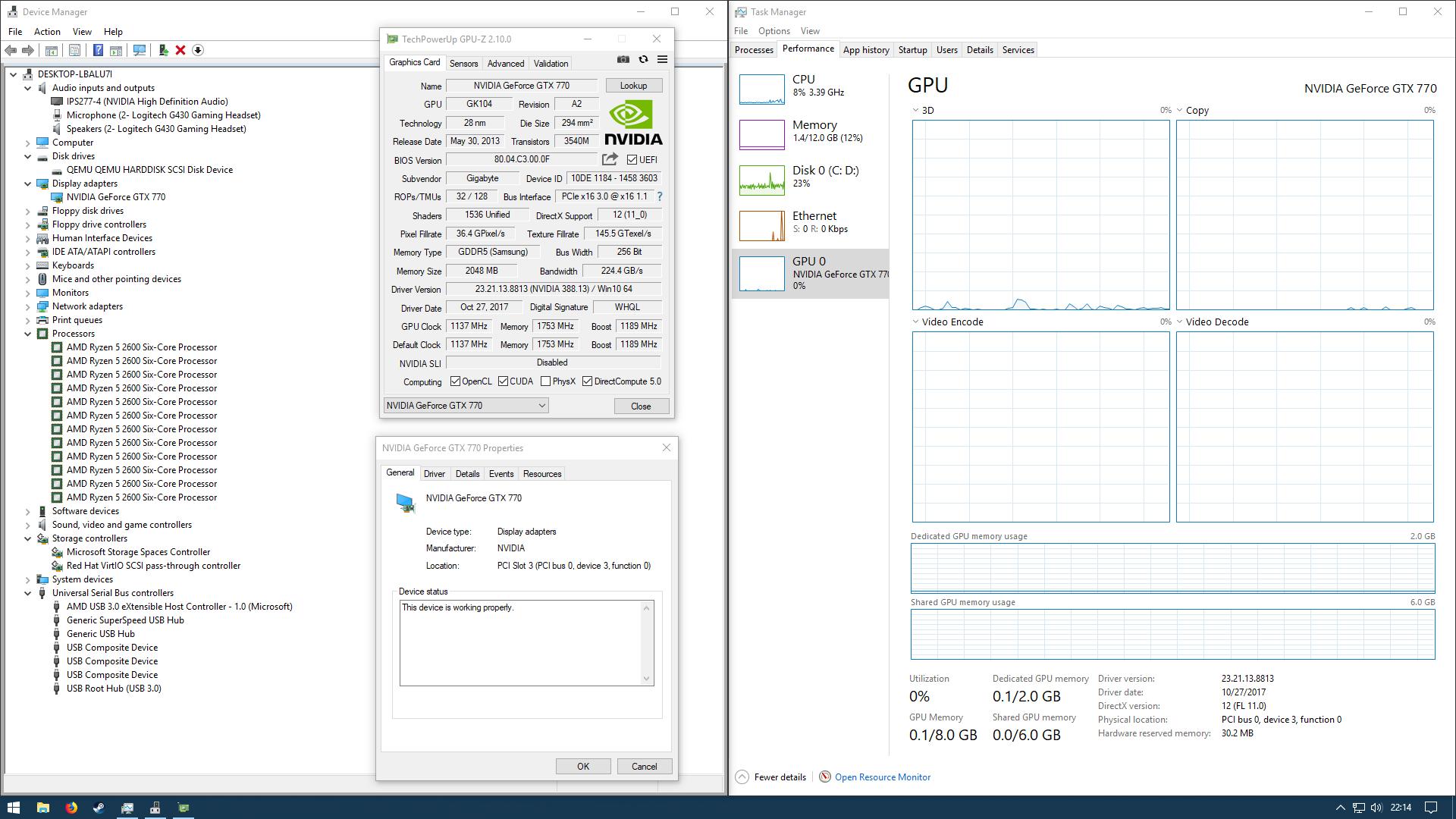 Screenshots/Windows 10 QEMU single GPU info.png