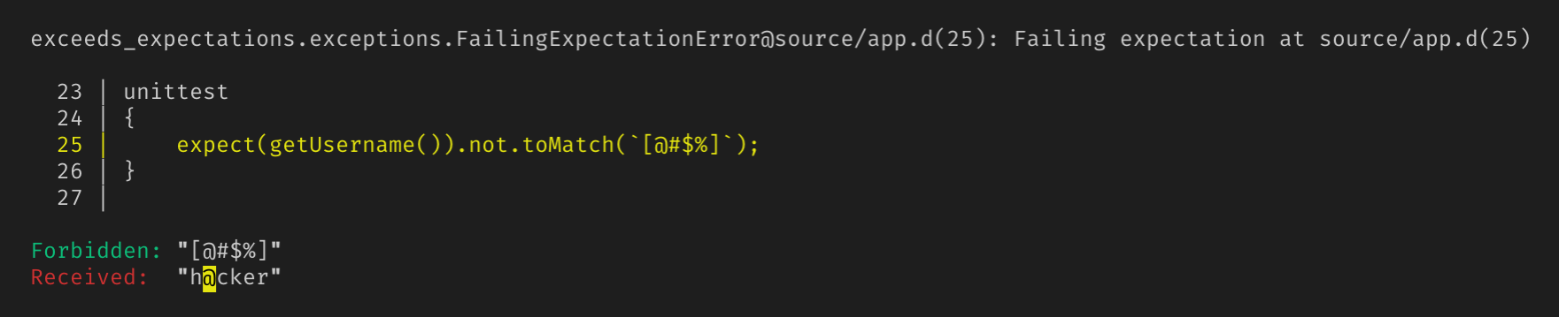 Console output of a failing expectation showing the expected value, the received value, and a snippet of code surrounding the expectation.