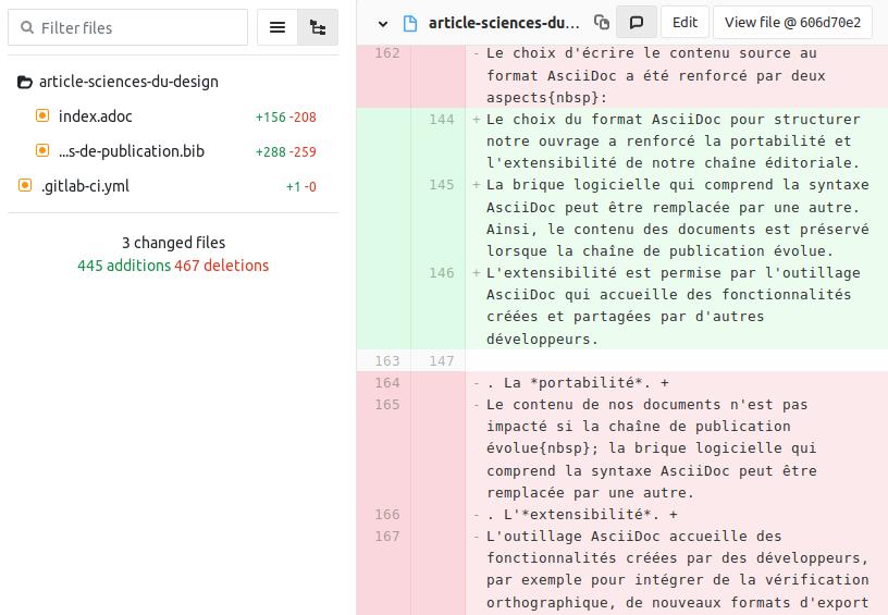 Figure 1 : capture d'écran d'une proposition de modifications sur l'interface GitLab.