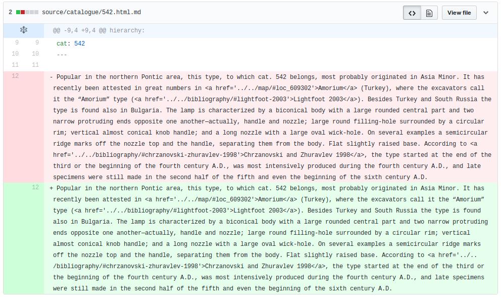 Figure 2 : capture d'écran de la visualisation de différences pour un catalogue de Getty Publications dans l'interface de GitHub.