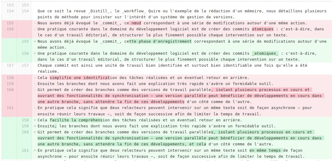 Figure 3 : capture d'écran d'une visualisation de différences entre deux commits dans l'interface GitLab.