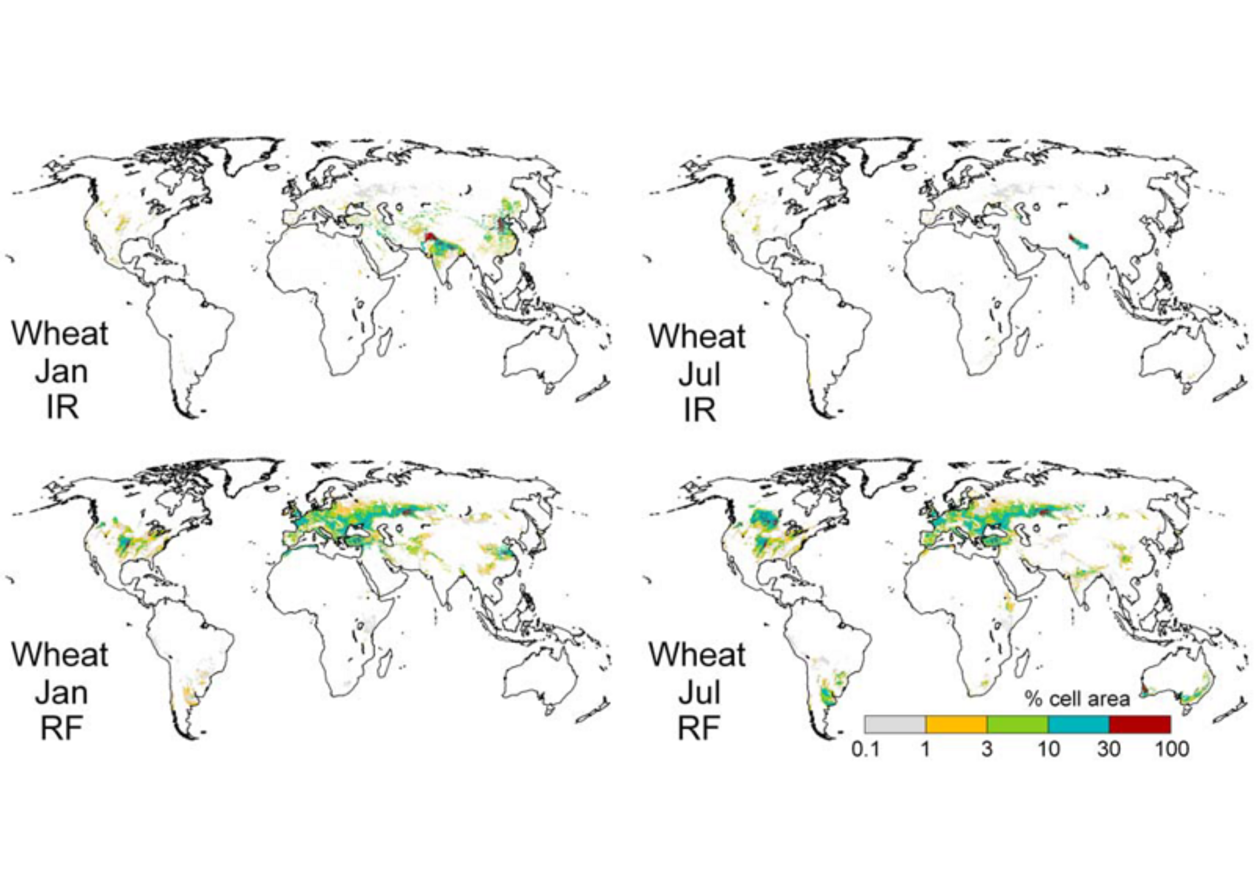 Figure 1: (top) Irrigated (IR) and (bottom) rainfed (RF) monthly growing area of wheat in (left) January and (right) July, in percent of grid cell area, for 1998–2002. Figure originally displayed in Portman, Siebert, and Döll (2008).