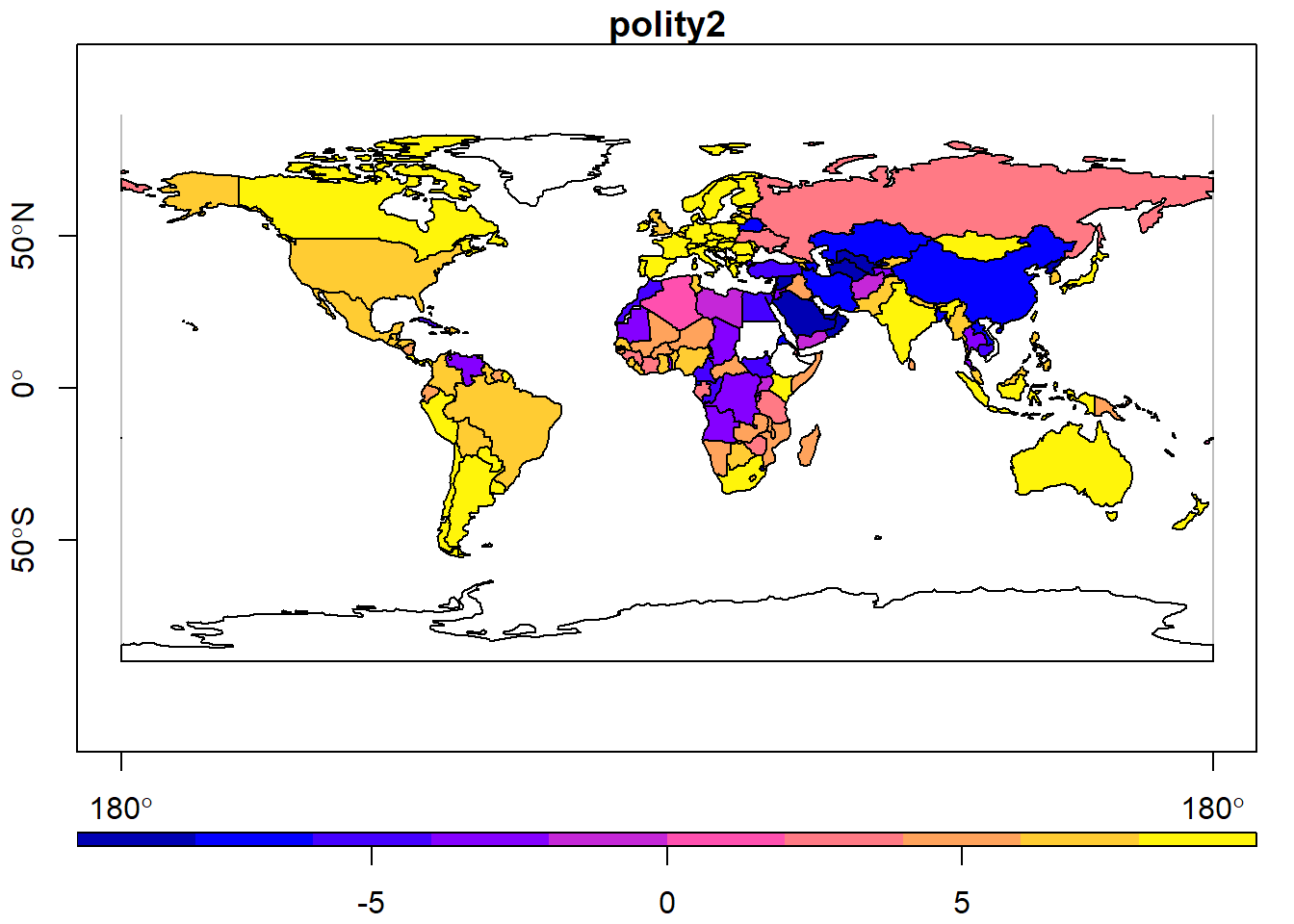 Global map of Systemic Center for Peace's Polity 5 primary 'polity2' composite metric. Raw Polity data is tabular, but depicted here using a choropleth.