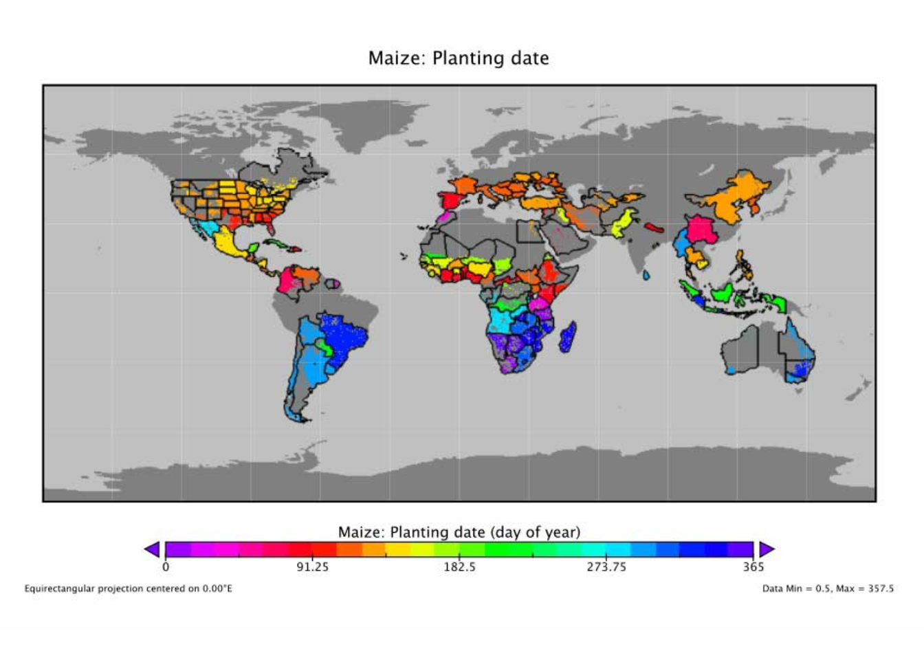 Figure 1: Global planting dates for Maize.