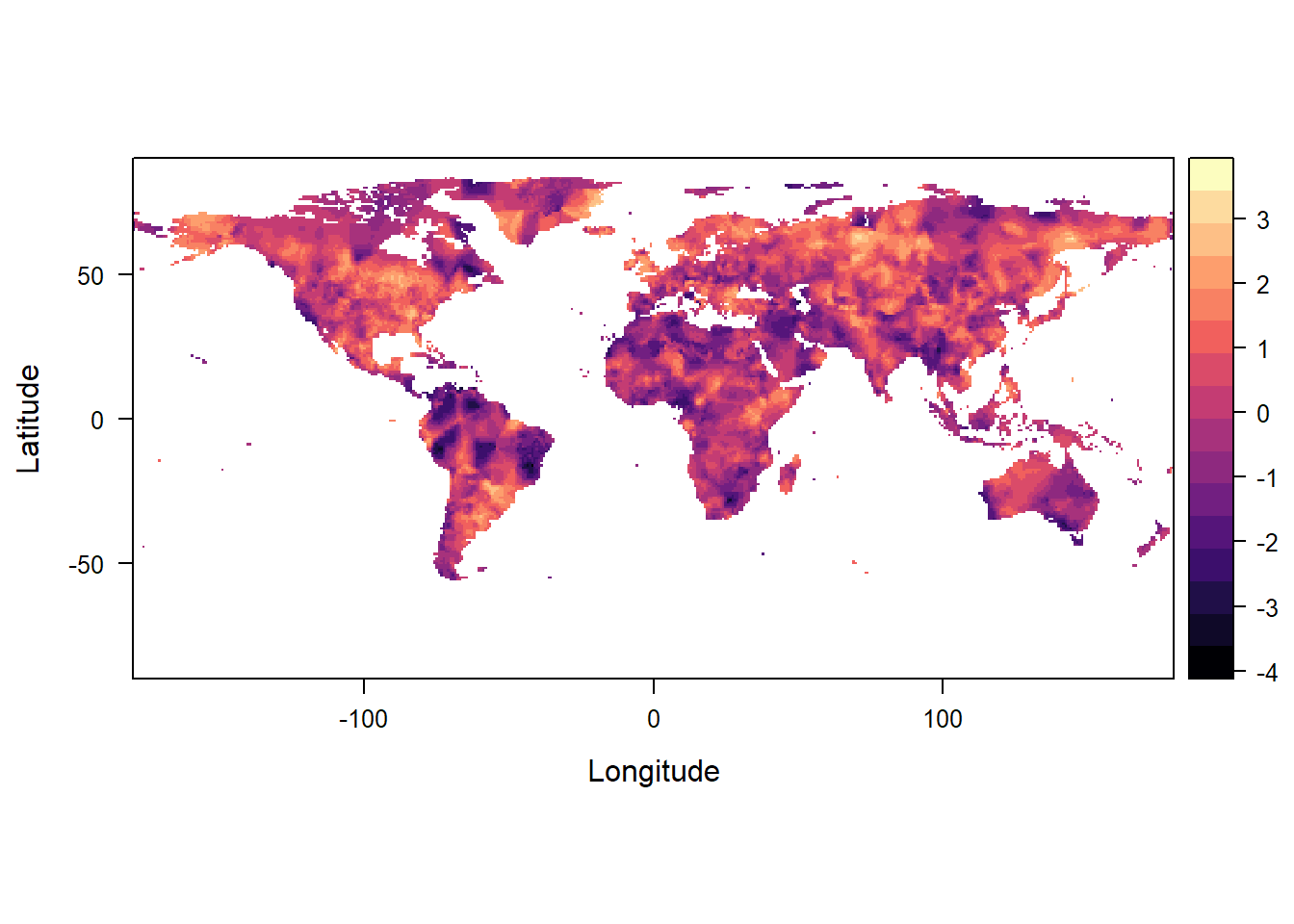 Figure 1: Standardized precipitation evapotranspiration index for 2015 with a 4 year integration period.