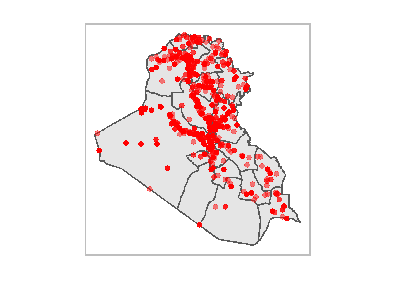 Figure 1: Uppsala Conflict Data Program Georeferenced Event Dataset (UCDP-GED; v18.1) recorded battles in Iraq during 1989-2017.