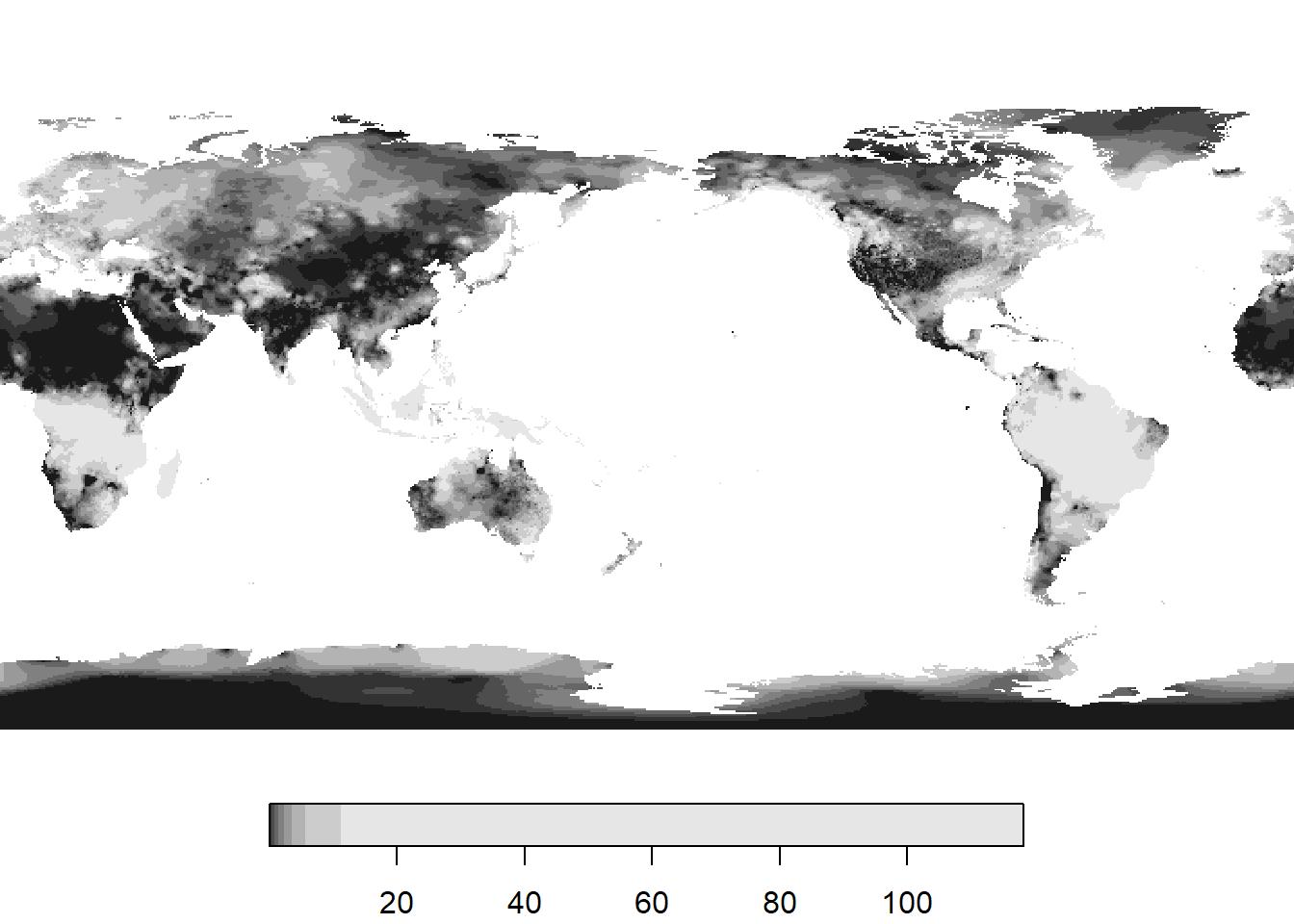 Cumulative monthly precipitation (cm) for December 2017.