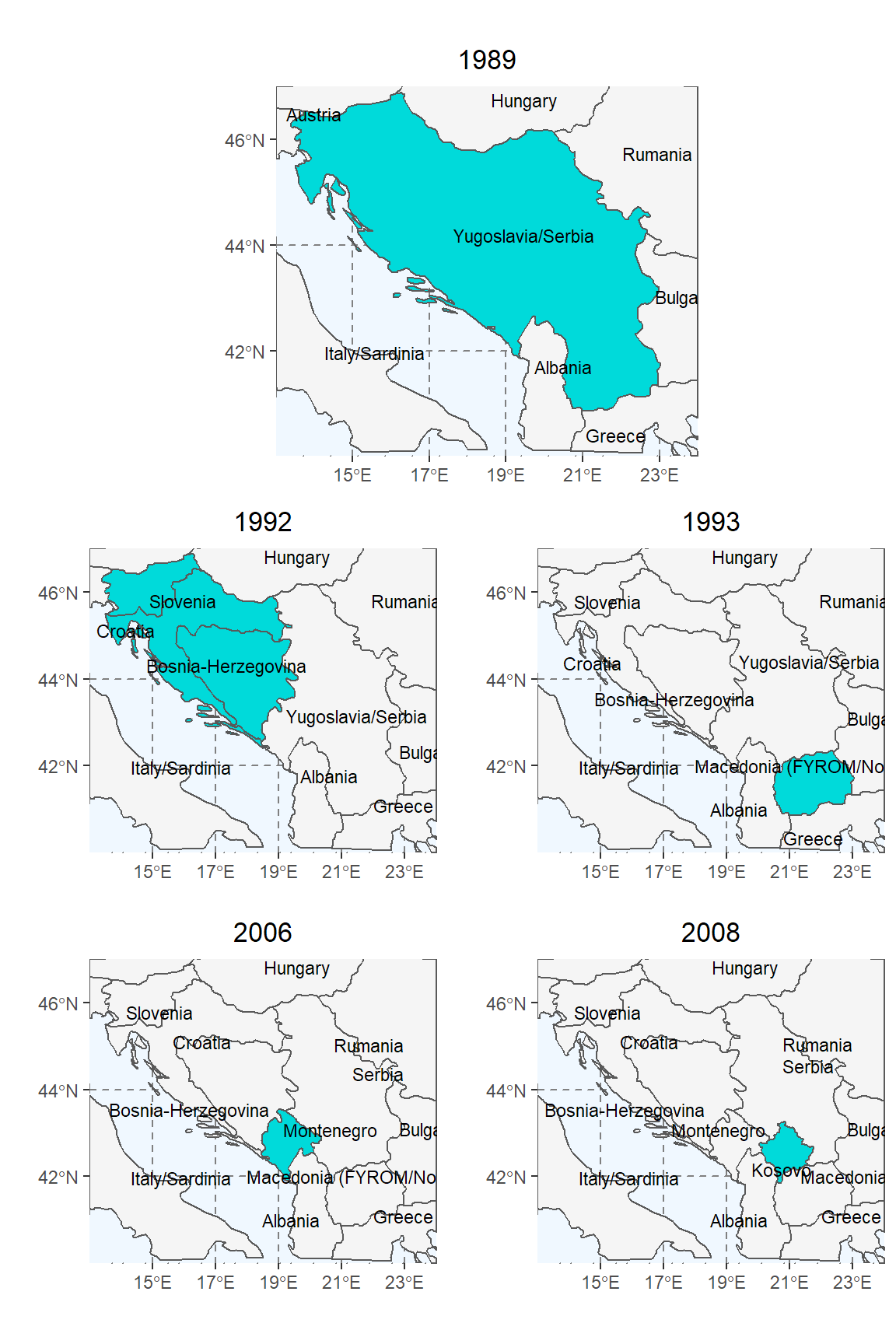 Visual timeline of significant secessions from the former Yugoslavian state as internationally recognized and coded by the Correlates of War and cshapes project. The top panel depicts Yugoslavia (highlighted teal) in its 1989 unified state. Highlighted countries in remaining panels illustrate countries that gained sovereignty since the previous date.