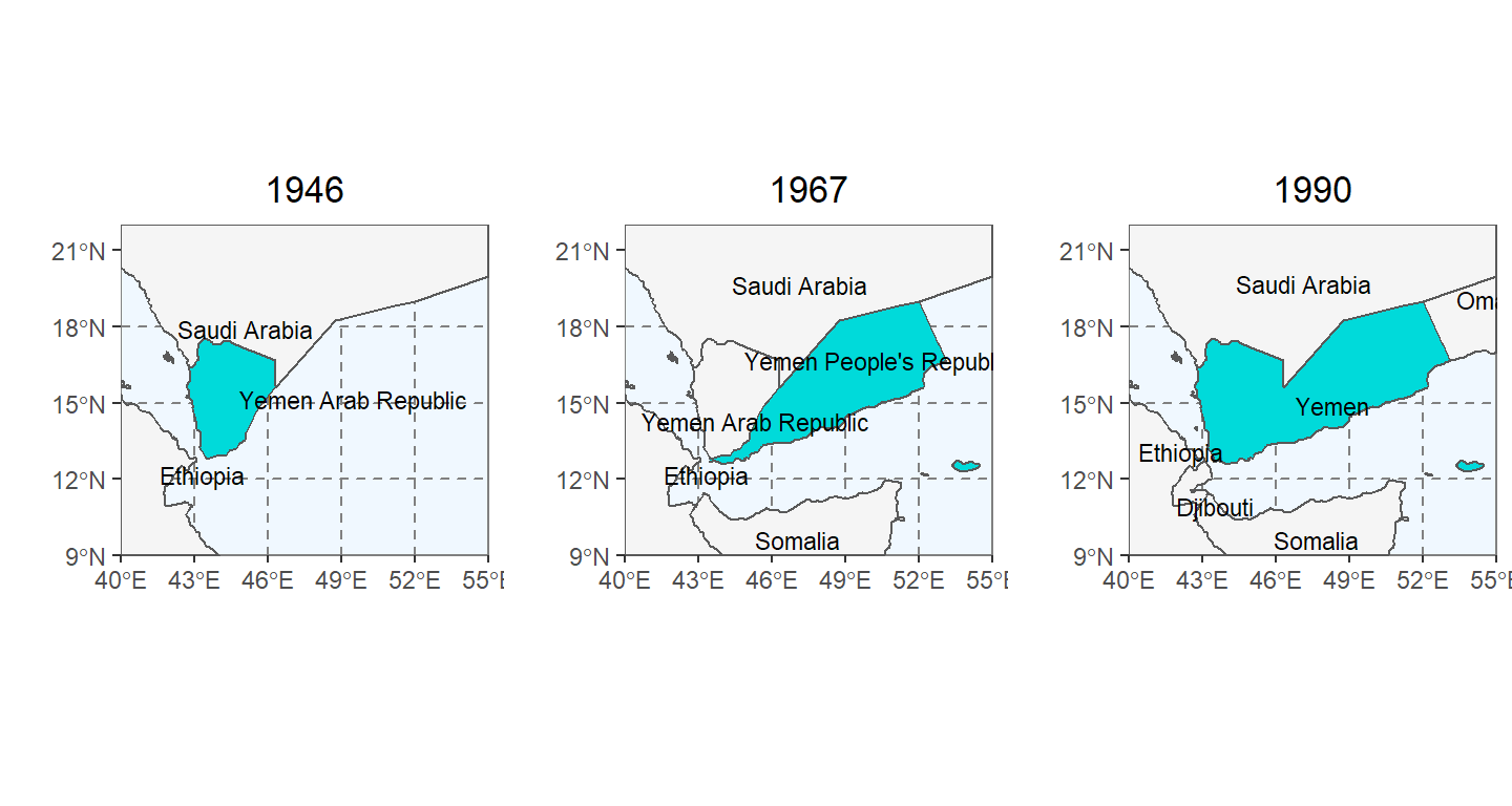 Visual timeline of internationally recognized sovereign borders of Yemen, North Yemen, and South Yemen. Historic boundaries are determined by the cshapes packages. Note that cshapes does not include land area that lacks international independence. Hence, in the 1946 (left) panel, British Aden (South Yemen) and Djibouti are not present until they've gained their respective independence.