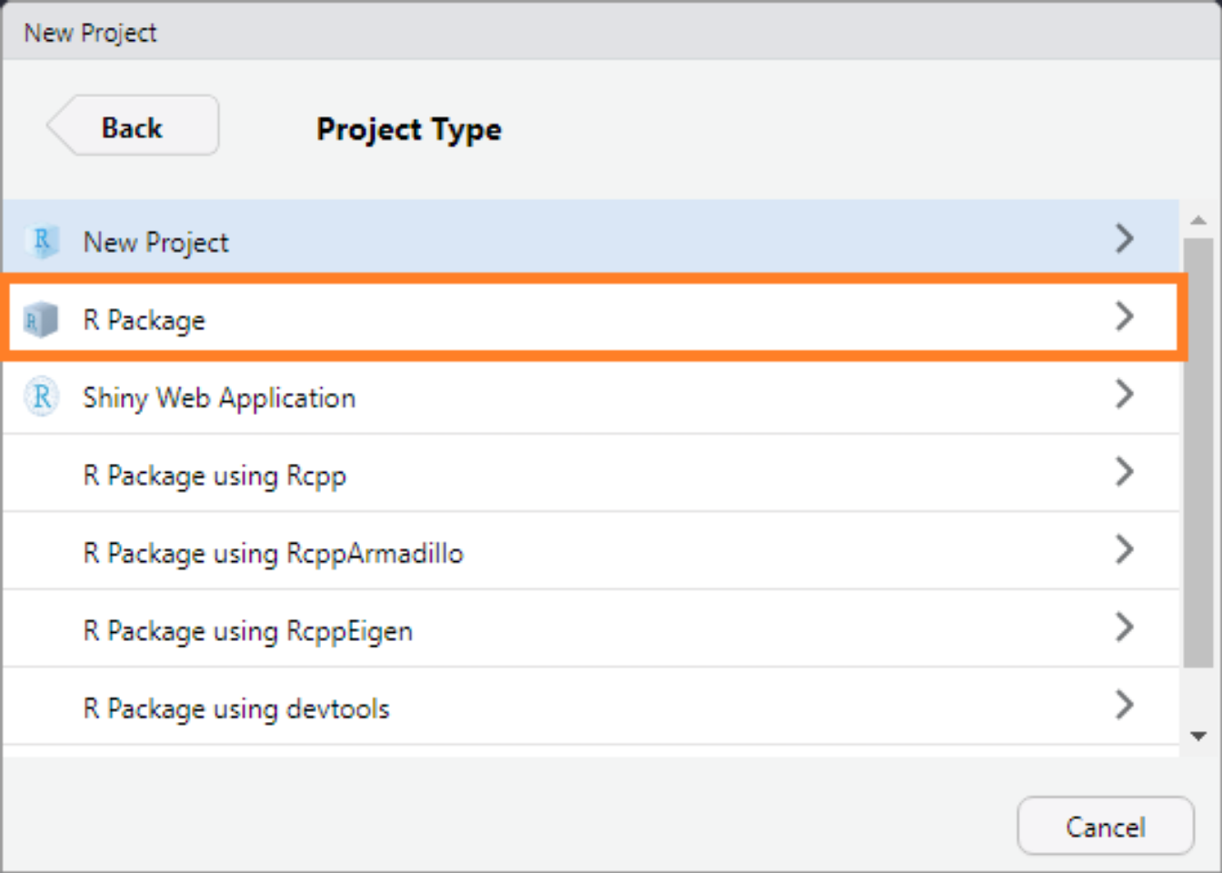 The RStudio New Project-New Directory interface.