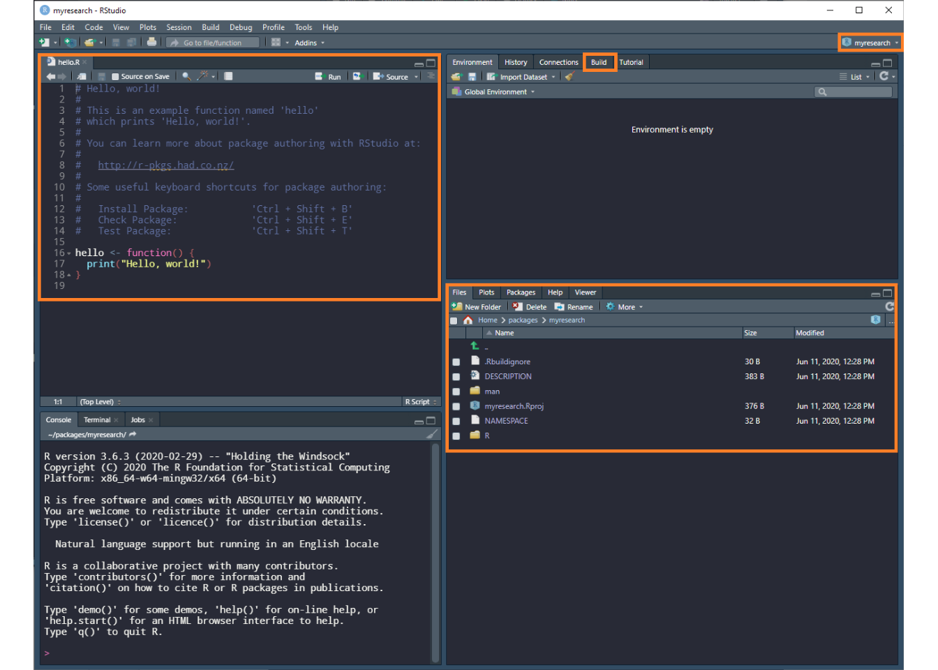 RStudio window layout for newly created package.