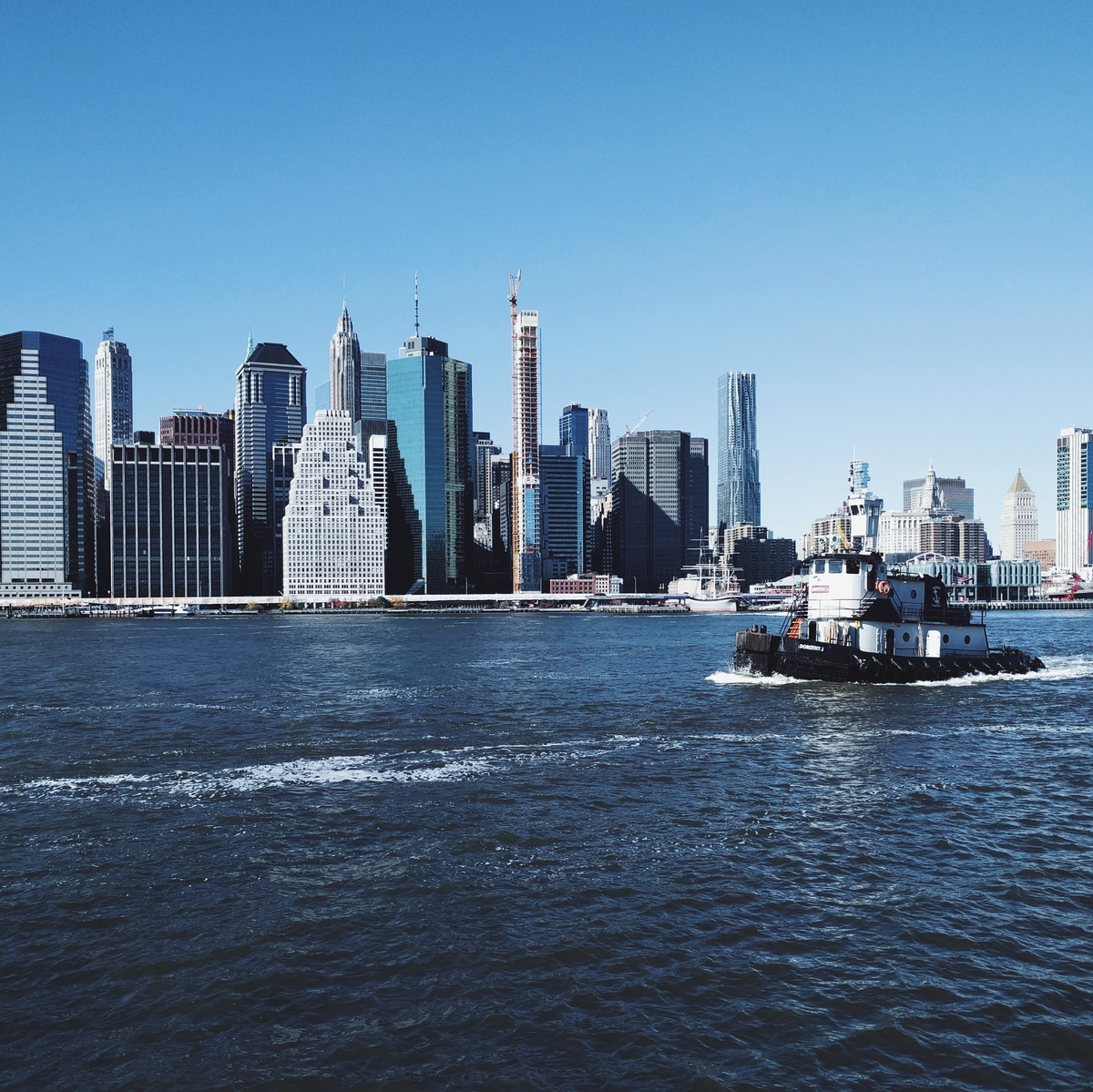 New York and a ship going