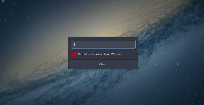 GNOME Shell: restart is not available on Wayland