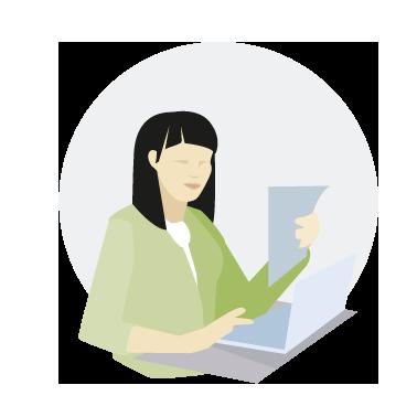 Die Illustration stellt die Persona Annie Li dar. Die Illustration hat im Hintergrund einen hellgrauen Kreis, vor dem der Rest der Darstellung teilweise die Kreisränder überlappt und damit den verfügbaren Raum stärker ausfüllt. Die Persona zeigt den Oberkörper einer hellhäutigen Frau, die einen hellgrünen Blazer über einem weißen Shirt trägt und vor sich ein Blatt Papier hält, während sie vor einem aufgeklappten Notebook an einem angedeuteten Tisch sitzt. Die Tastatur des Notebooks und das Papier sind taubenblau, der Rest des Notebooks hellblaugrau und die Tischoberfläche mittelgrau. Die Frau hat schwarze schulterlange Haare, der Mund ist geschlossen und genau wie Nase und Augen nur angedeutet. Die Frau schaut auf das Papier in ihren Händen.