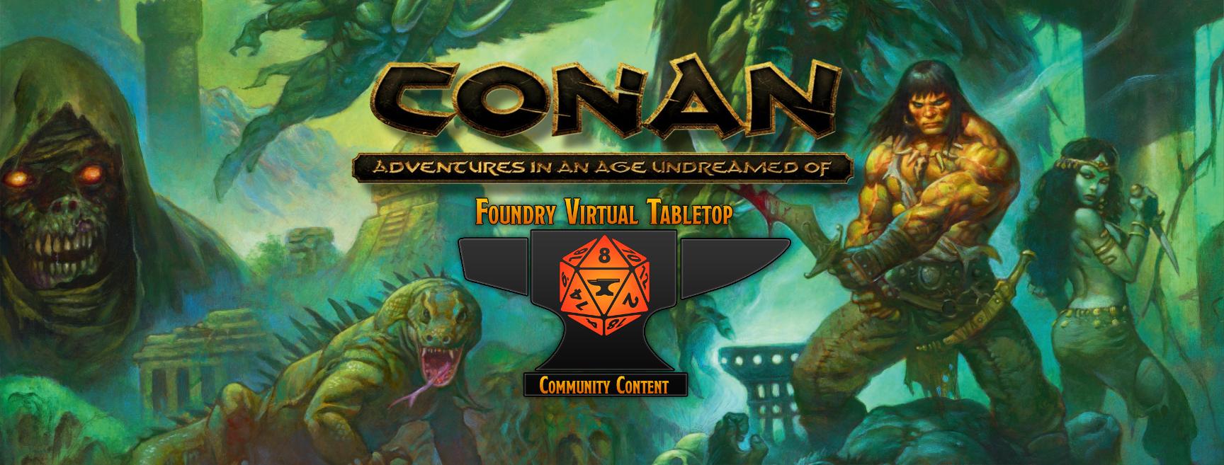 Robert E. Howard's CONAN banner with mosaic of Conan inspired elements.