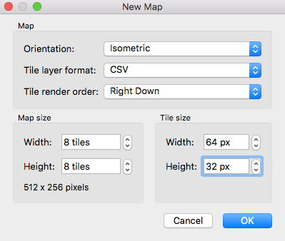 Create an new isometric map in Tiled Editor