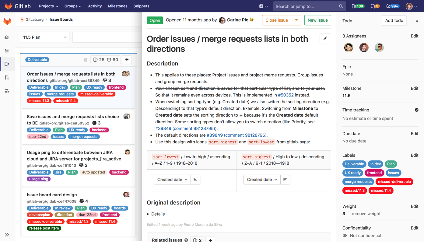 Mockup used to build the GitLab Details Sidebar
