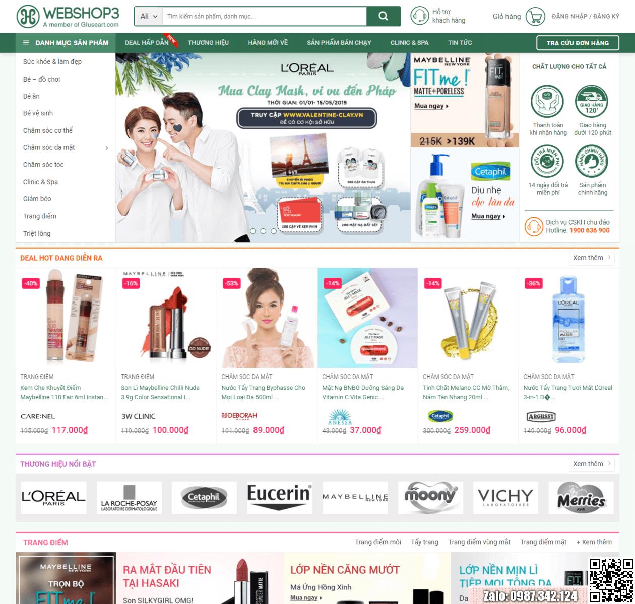 Mẫu web bán hàng mỹ phẩm đẹp thumbnail
