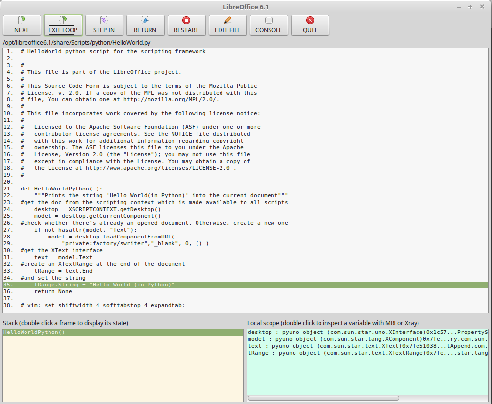 Apso debugger screenshot