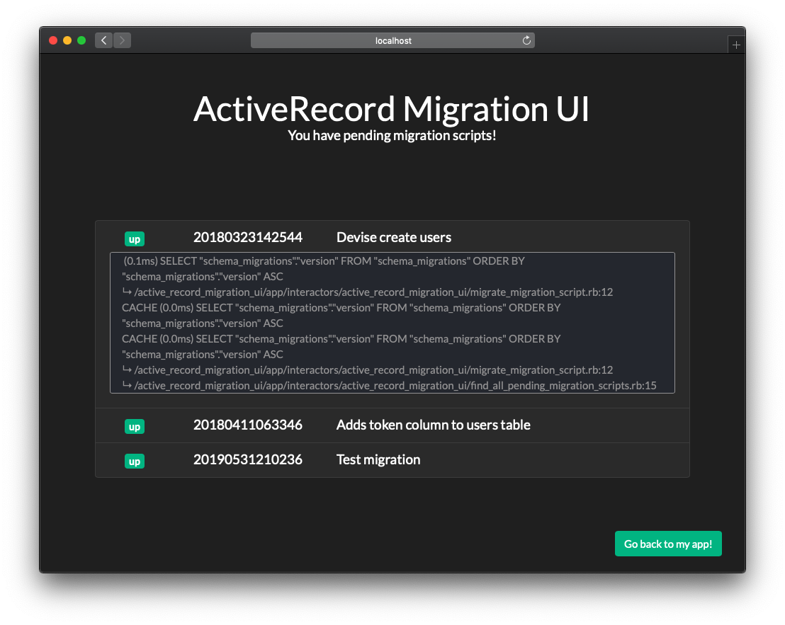 ActiveRecord Migration UI gem - migration logs