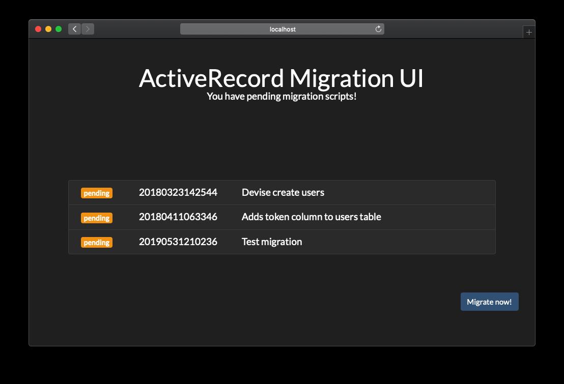 ActiveRecord Migration UI gem