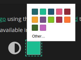 HTML color picker with 12 presets.